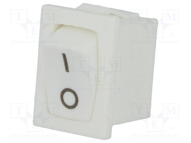 Inter à bascule unipolaire off-on 3a 250vac 13x19mm blanc