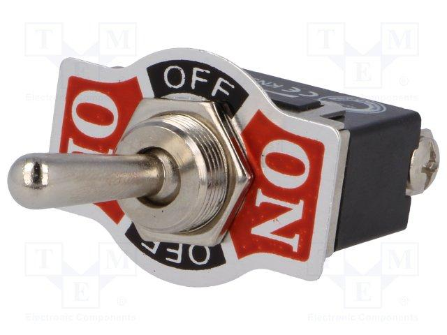 Inter a levier  1rt fixe on-off-on 10a 250v sortie cosses